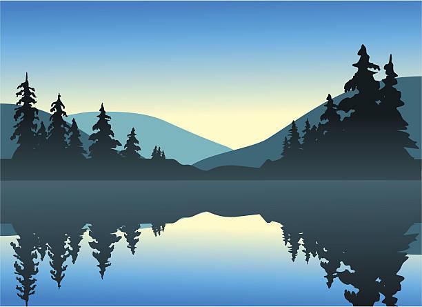 Calm Lake vector art illustration