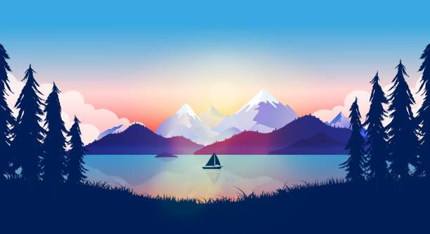 illustrazioni stock, clip art, cartoni animati e icone di tendenza di calm lake with boat in beautiful nature landscape - fiordi