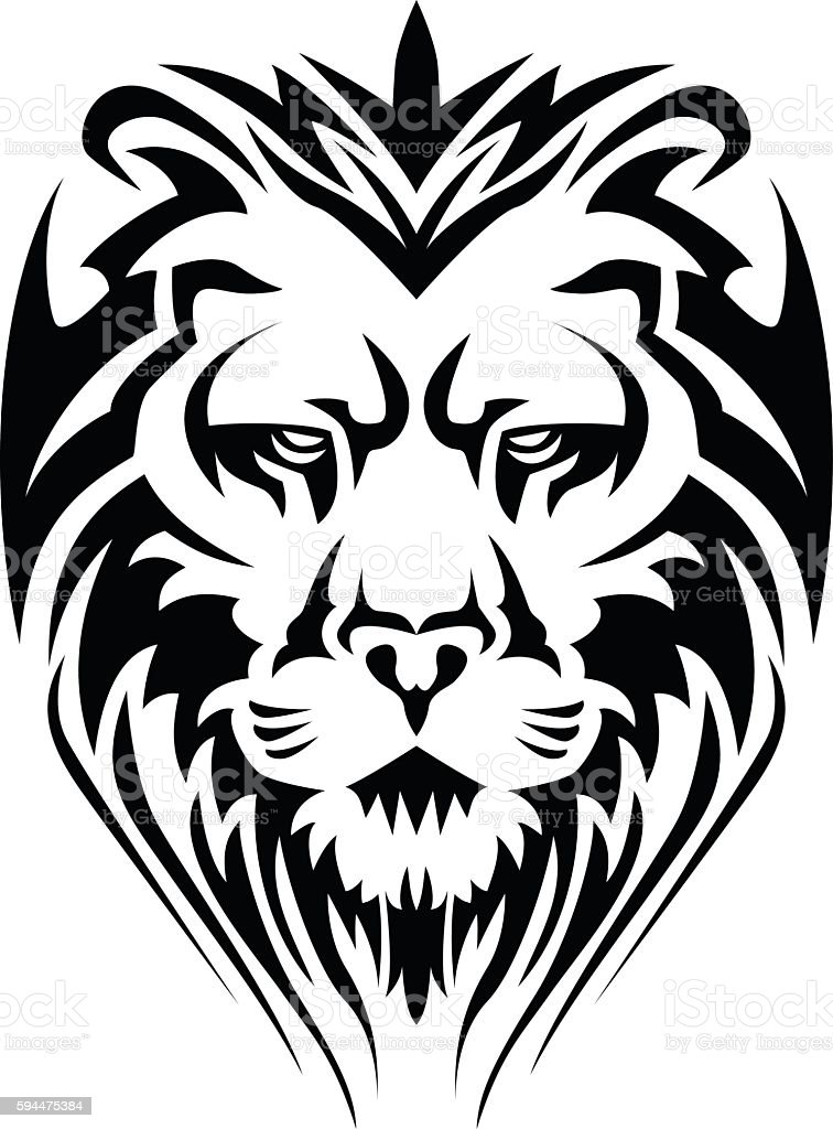 calm lion head stock vector art 594475384 | istock