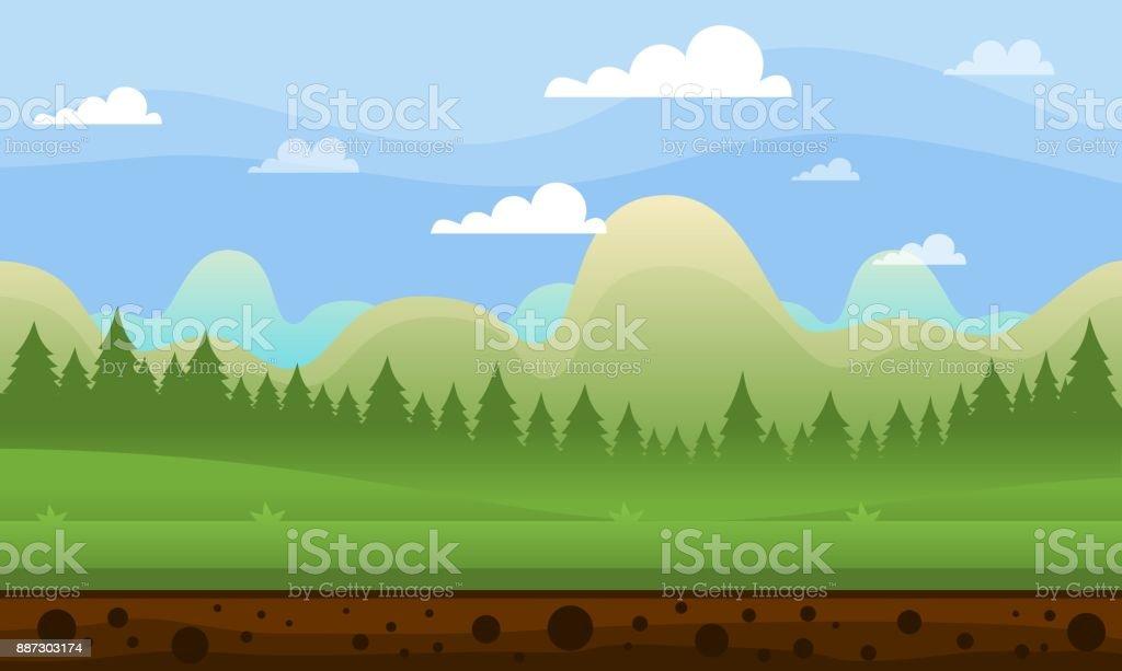 Calm Mountain Game Background vector art illustration