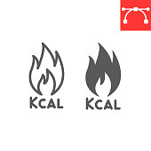 Calories burn line and glyph icon, fitness and keto diet, fire sign vector graphics, editable stroke linear icon, eps 10