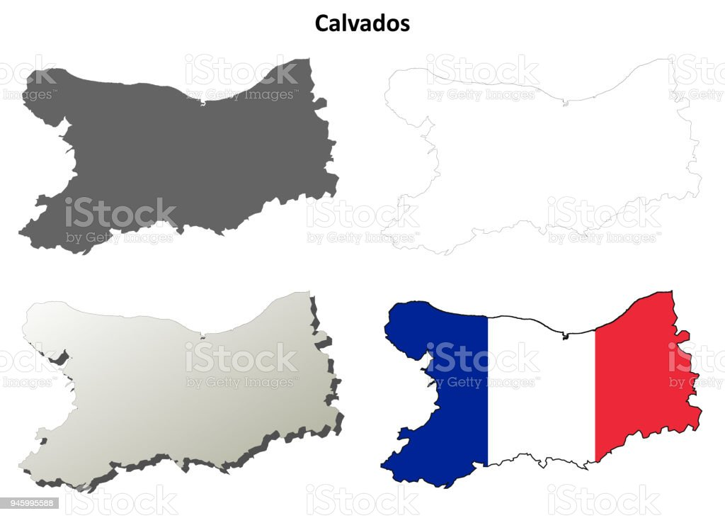 Map France 945.Calvados Lower Normandy Outline Map Set Stock Vector Art More