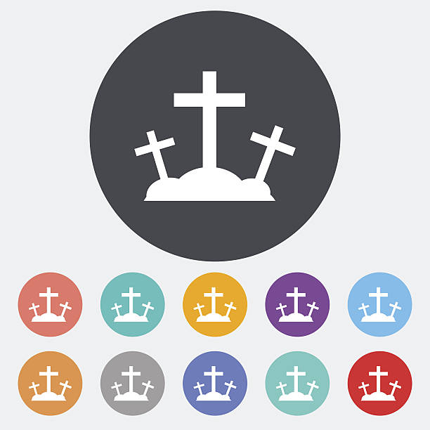 Calvary single icon. Calvary. Single flat icon on the circle. Vector illustration. lent stock illustrations