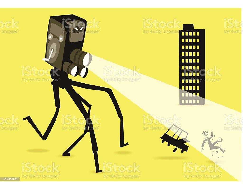 Cam robot attacks the city vector art illustration
