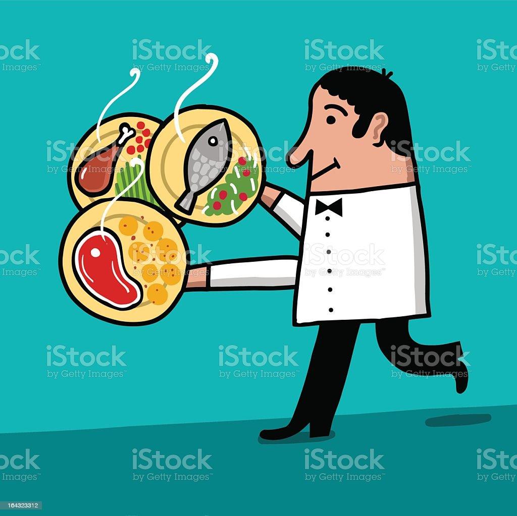 Camarero carga varios platos royalty-free camarero carga varios platos stock vector art & more images of adult