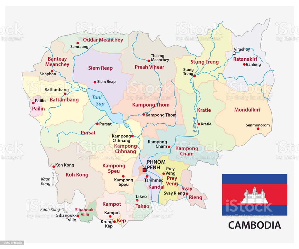 Cambodia administrative and political map with flag vector art illustration