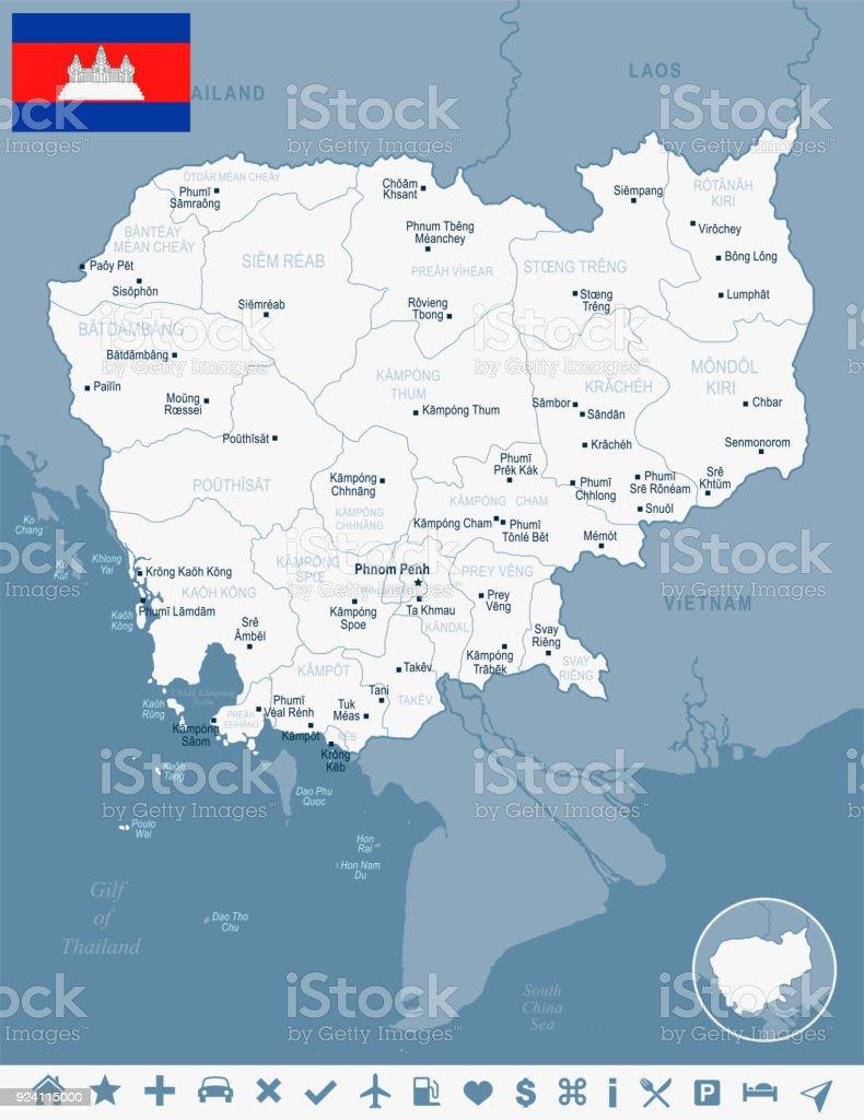 Kambodscha Karte.Kambodscha Karte Und Flagge Detaillierte Vektorillustration Stock Vektor Art Und Mehr Bilder Von Asien