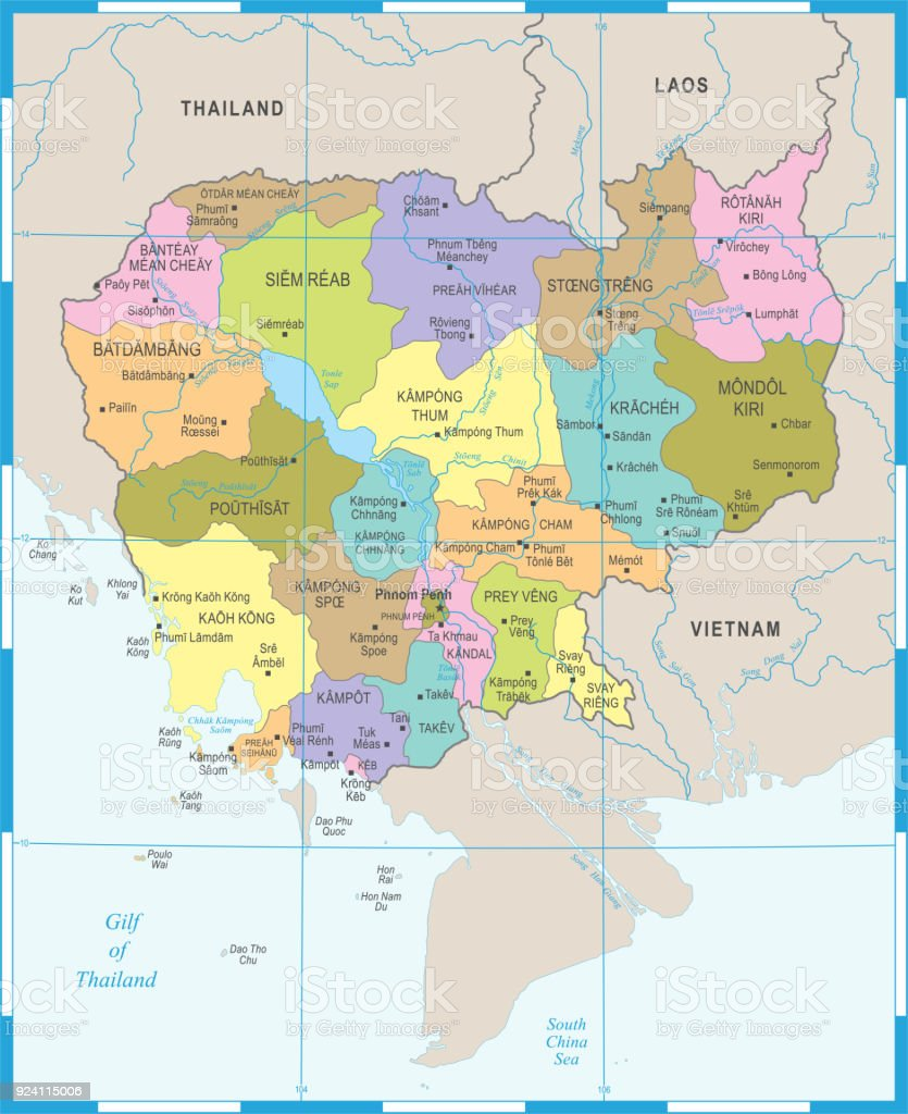 Kambodscha Karte.Kambodscha Karte Detaillierte Vektorillustration Stock