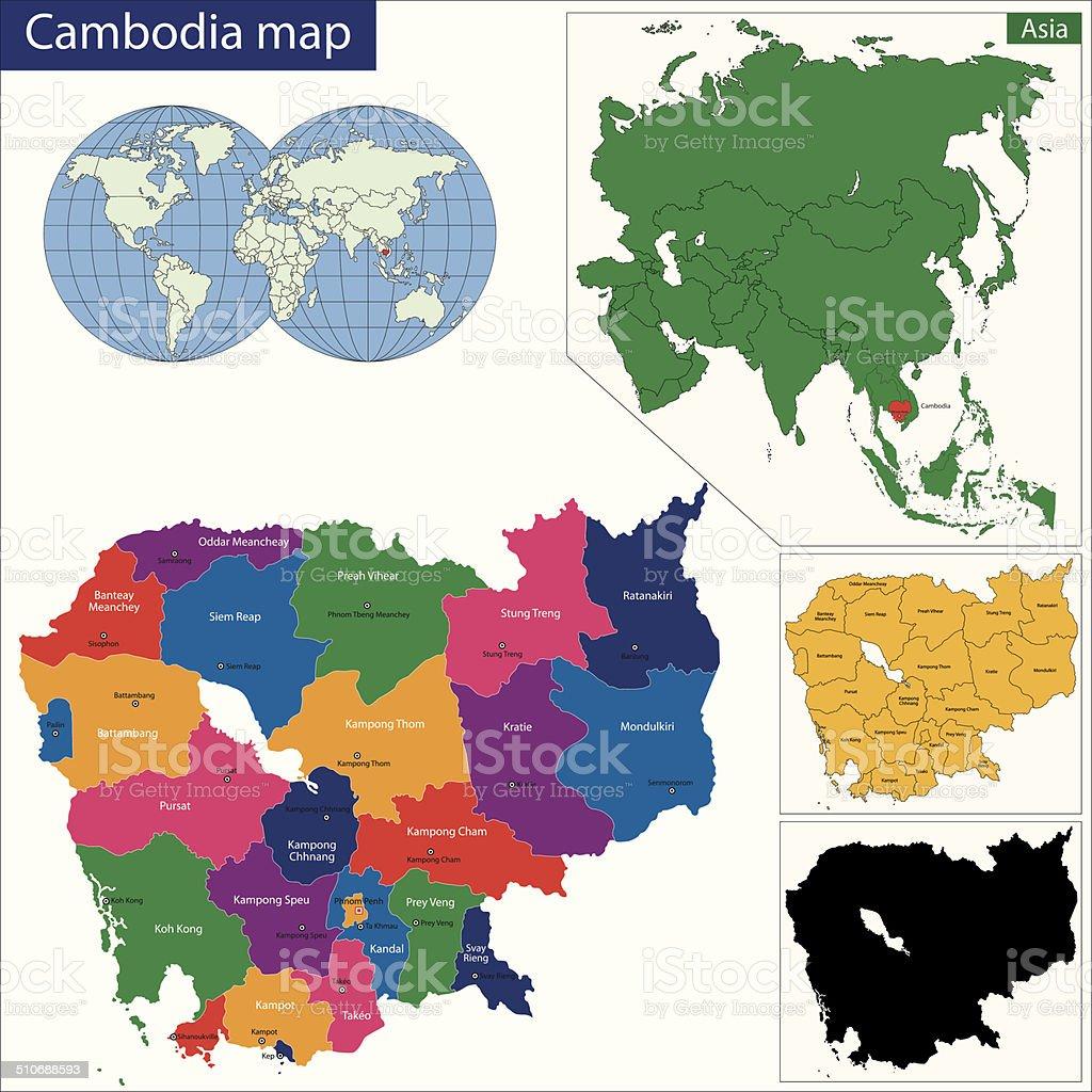Kambodscha Karte.Kambodscha Karte Stock Vektor Art Und Mehr Bilder Von