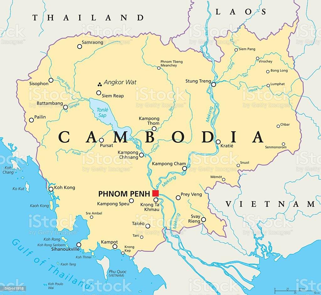 Cambodia Political Map Stock Vr Art und mehr Bilder von Angkor ... on