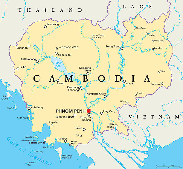 stockillustraties, clipart, cartoons en iconen met cambodia political map - cambodja