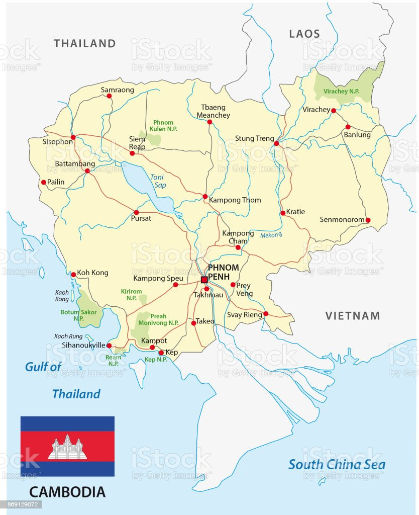Cambodia Road Map With Flag Stock Vector Art & More Images of ...
