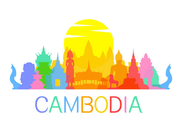 stockillustraties, clipart, cartoons en iconen met cambodia travel landmarks - cambodja