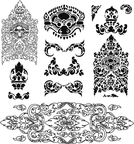 stockillustraties, clipart, cartoons en iconen met cambodian floral pattern - cambodja