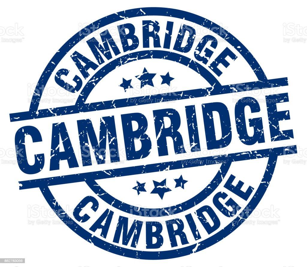 Cambridge blue round grunge stamp vector art illustration