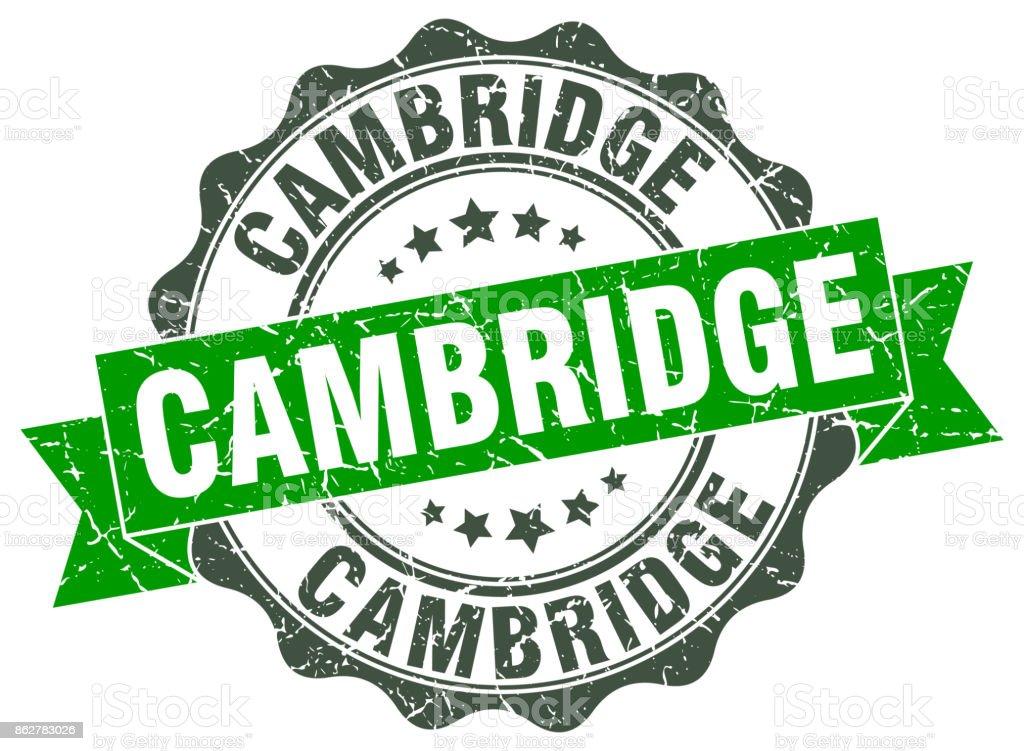Cambridge round ribbon seal vector art illustration
