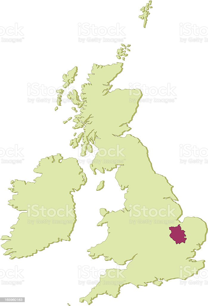 UK Cambridgeshire map royalty-free stock vector art