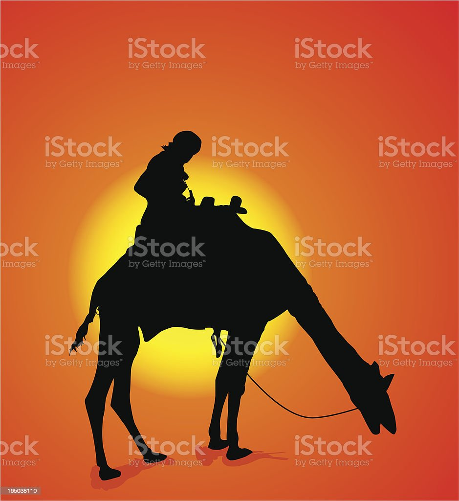 Camel and sun royalty-free stock vector art