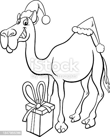 istock camel animal character on Christmas time coloring book page 1347955286