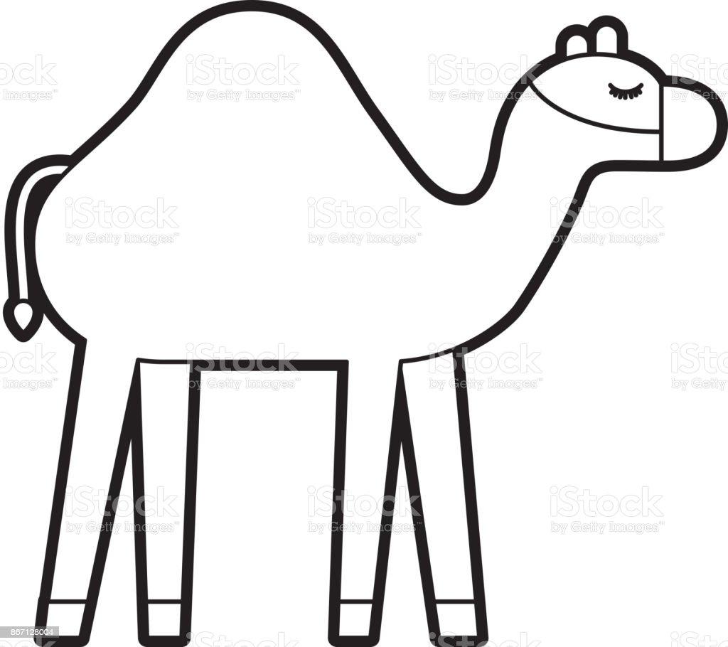Camel Animal Manger Christmas Cartoon Stock Vector Art