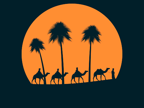 Camel caravan against sunset. Palm trees on the background of the sun. Vector illustration