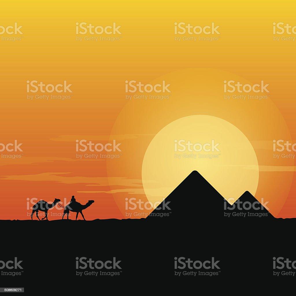 Camel Caravan and Pyramid vector art illustration