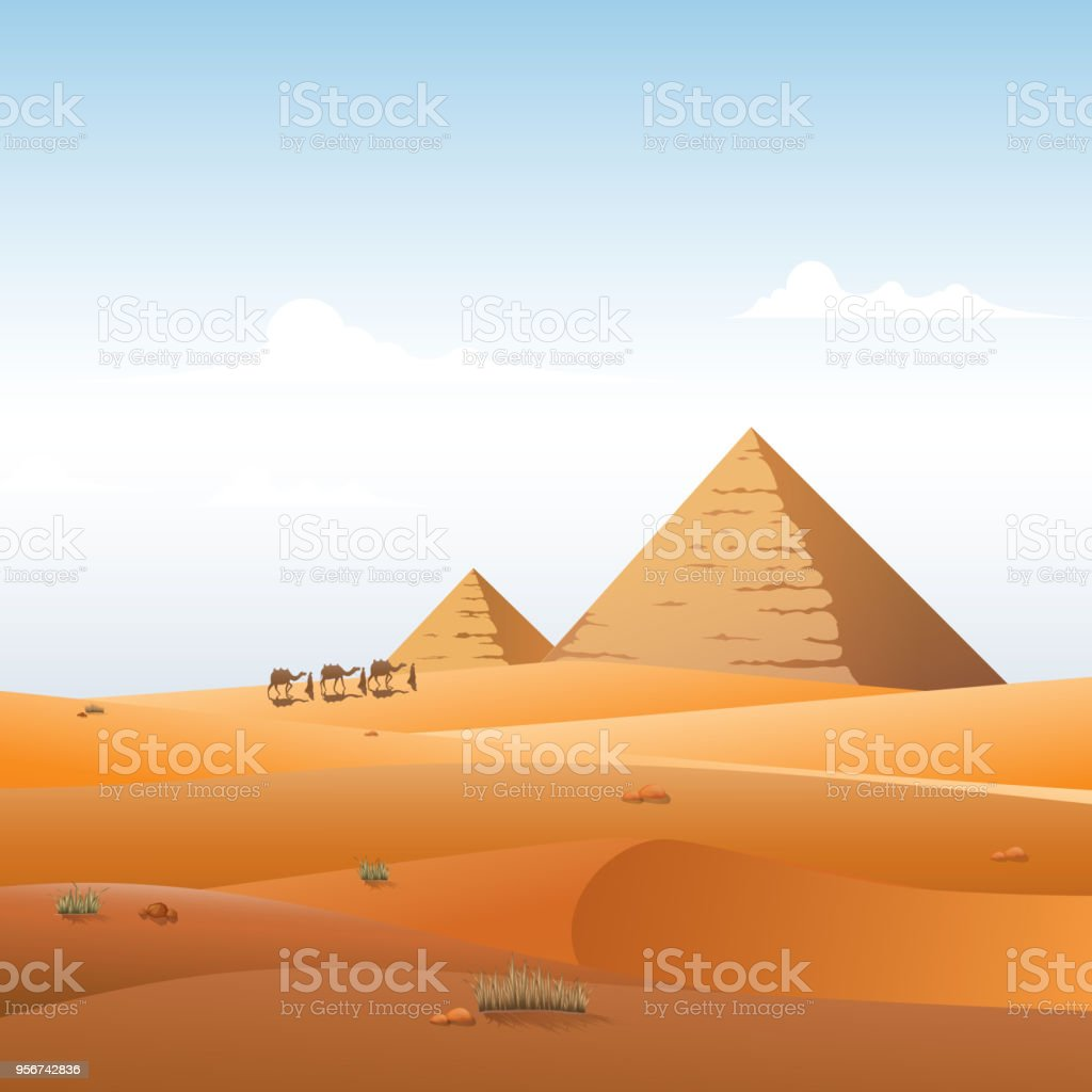 Camel caravan in wild Africa pyramids landscape background vector art illustration