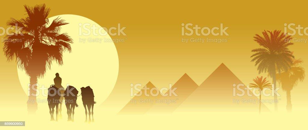 Camel caravan vector art illustration