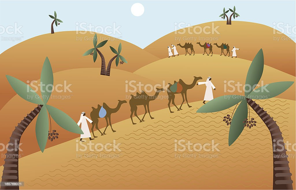 Camel Caravan Walking Among Sand Dunes Of Middle Eastern Desert vector art illustration