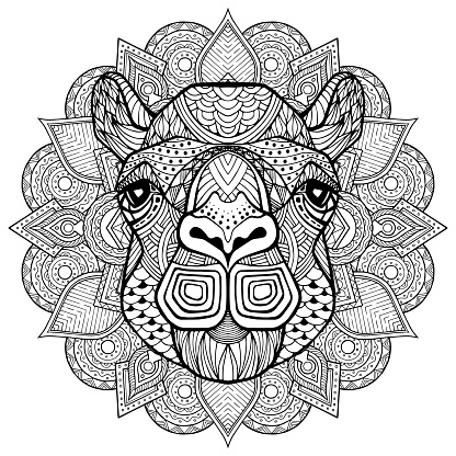 Camel head in detailed style. Zentangle camel. Vector pattern for tribal design. Geometric Ethnic motif with rhombus, triangles. Graphic style. Camel for print, web, textile, wrapping paper.