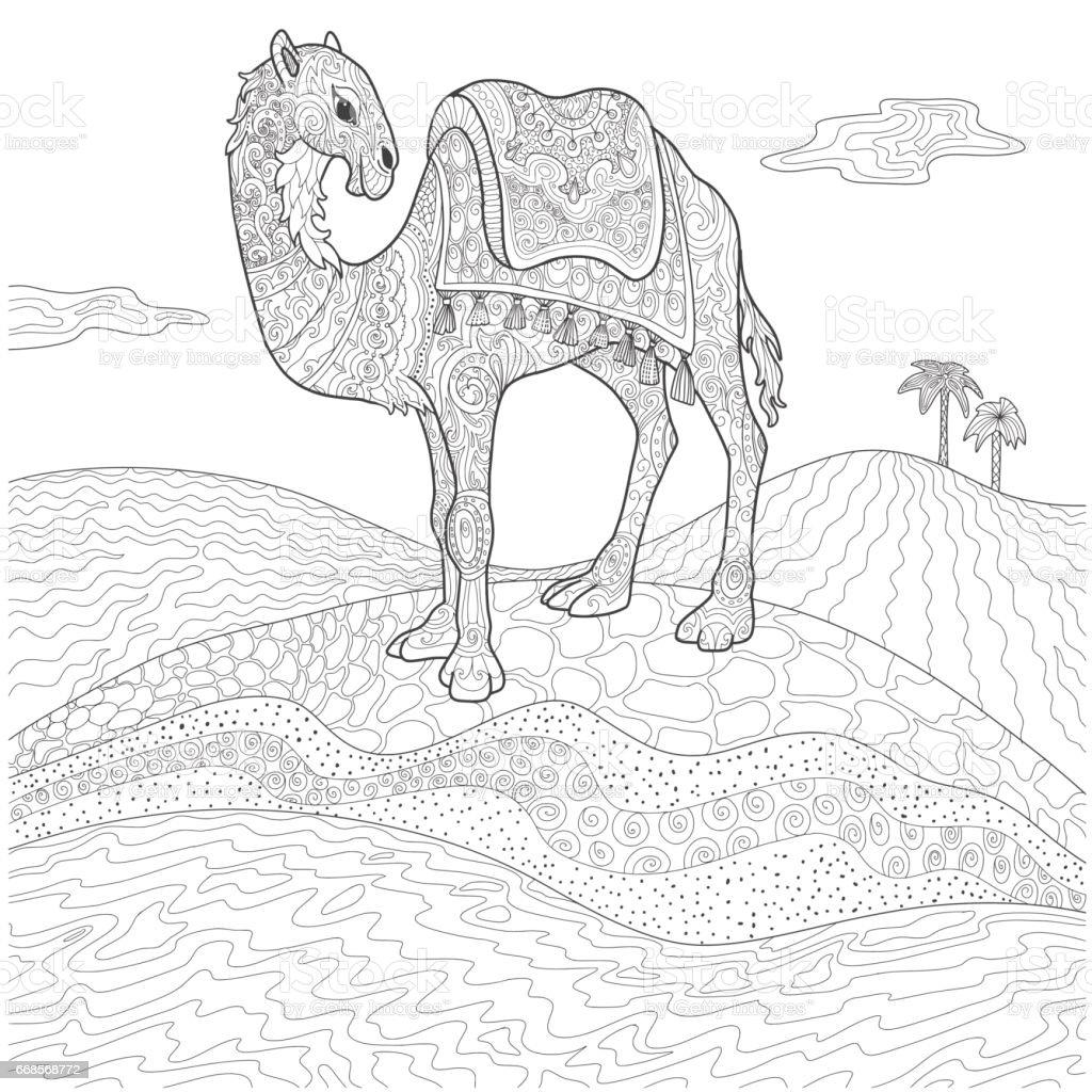 Deve çöl Doodle Vektör çizim Içinde Stok Vektör Sanatı Boyama