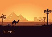 Camel in wild Africa pyramids landscape background illustration