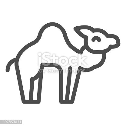 istock Camel line icon. Desert caravan animal silhouette. Animals vector design concept, outline style pictogram on white background, use for web and app. Eps 10. 1207276171