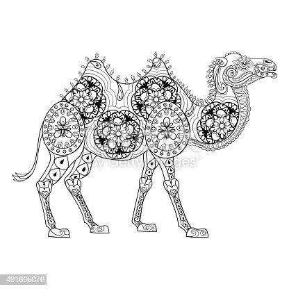Ilustración de Camello Zentangle Totem Para Adultos Para Colorear ...