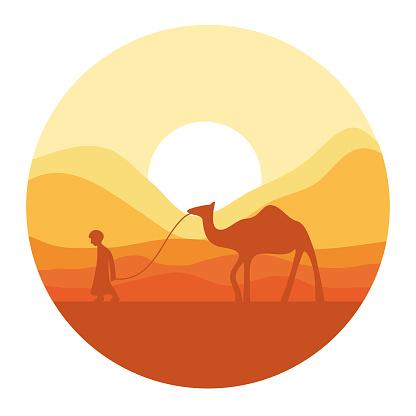 Camel travel in desert