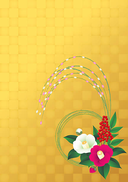 camellia. New Year decorations of Japan. vector art illustration