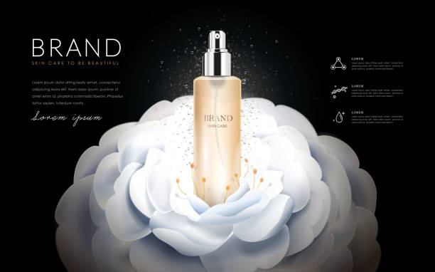 Camellia skin toner ads vector art illustration