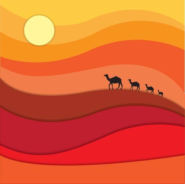 Camels caravan across desert Camels caravan across desert under the sun land feature stock illustrations