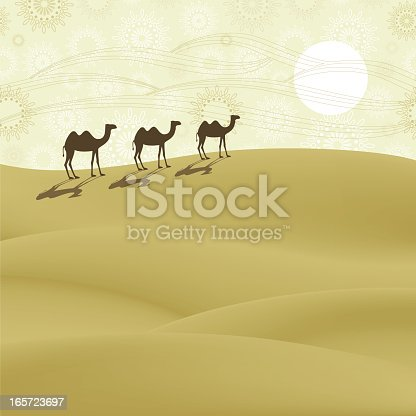 Group of camels walking through the desert.