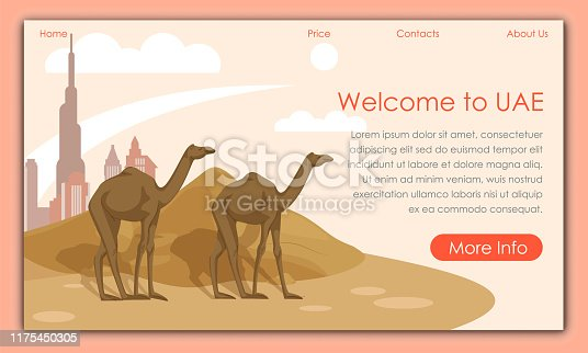 Camels Walking in Sand. Welcome to UAE. Vector Illustration. Tourism Development. Traveling Around World. Postcard Representing Country. Landmarks Country. Travel Agency Offers. Screen Monitor.