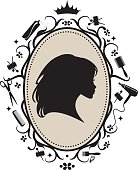 Cameo of an pretty girl in a decorative frame with icons on a hairdressing theme.