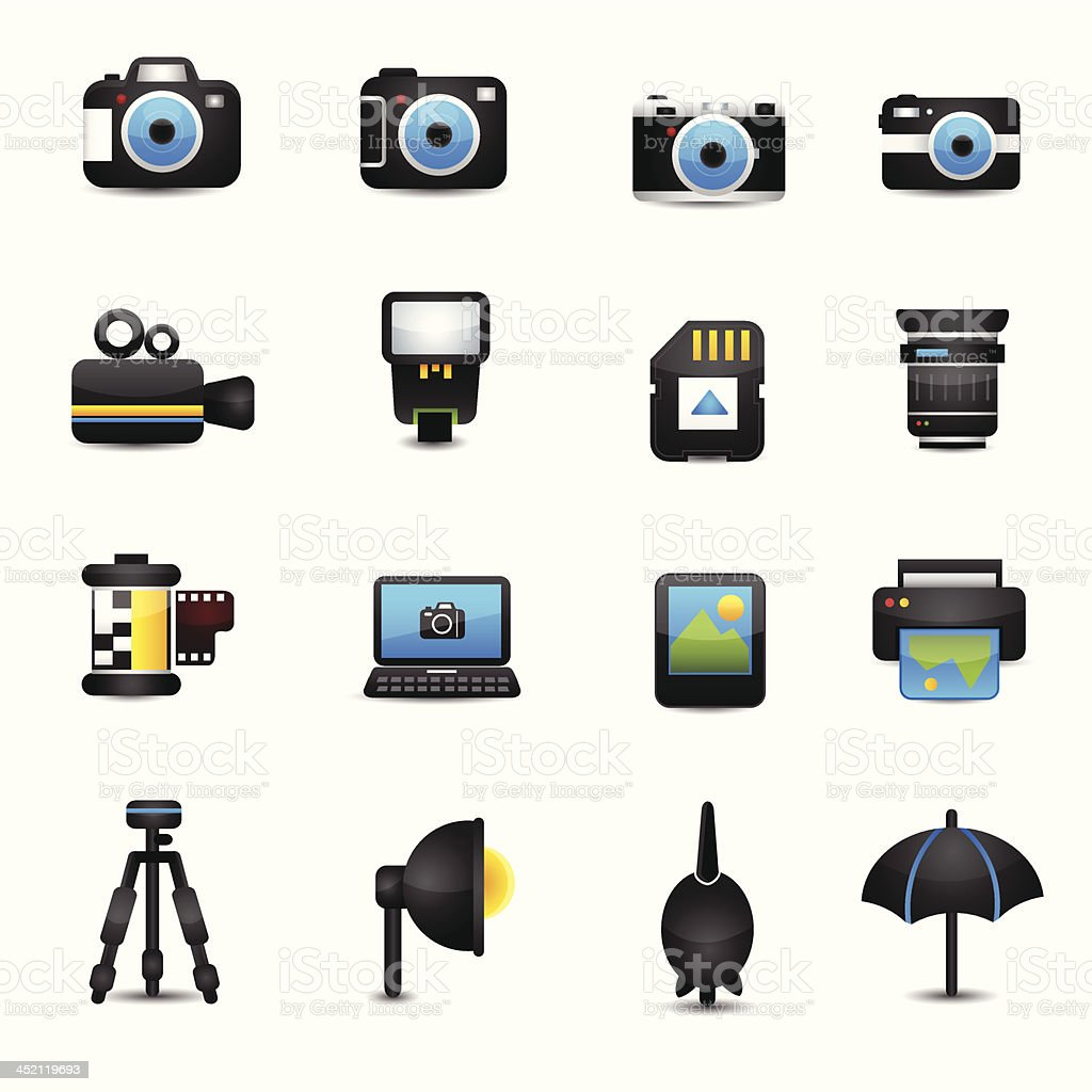 Camera Accessories Icons royalty-free camera accessories icons stock vector art & more images of black color