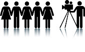 Information symbol man filming a group of people.