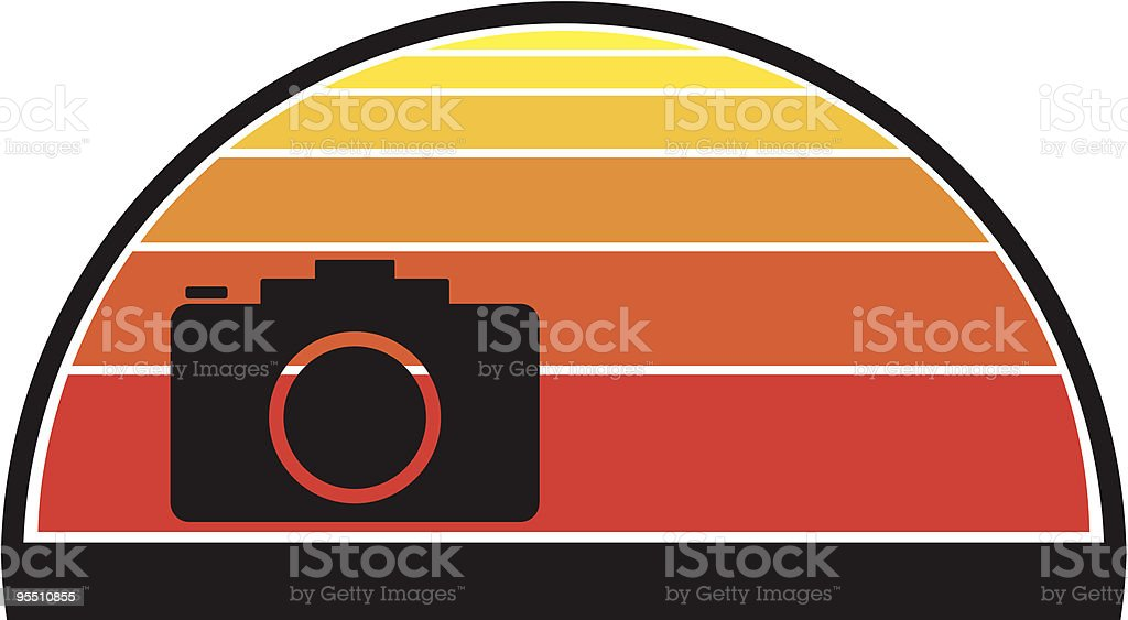 Camera against a sunset royalty-free stock vector art