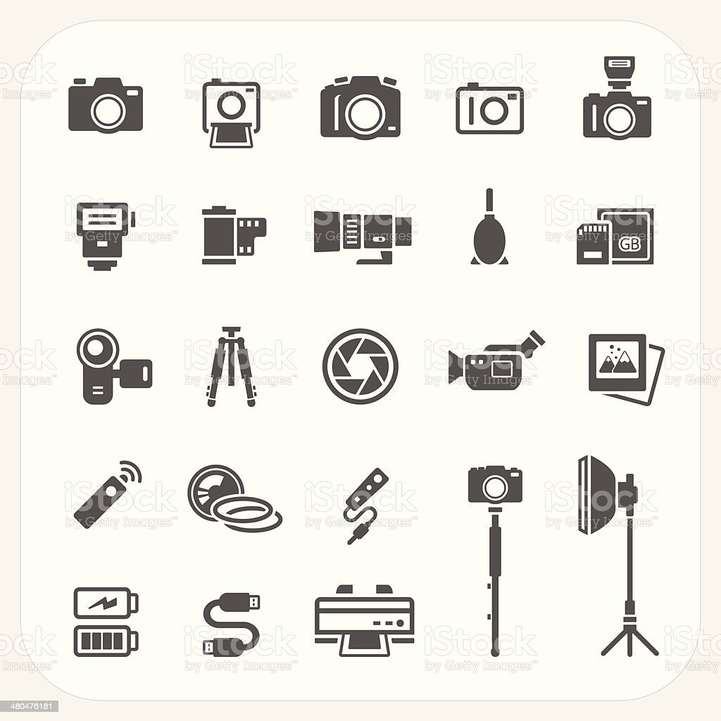 Camera and Accessories icons set vector art illustration