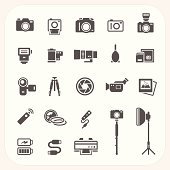 Camera and Accessories icons set