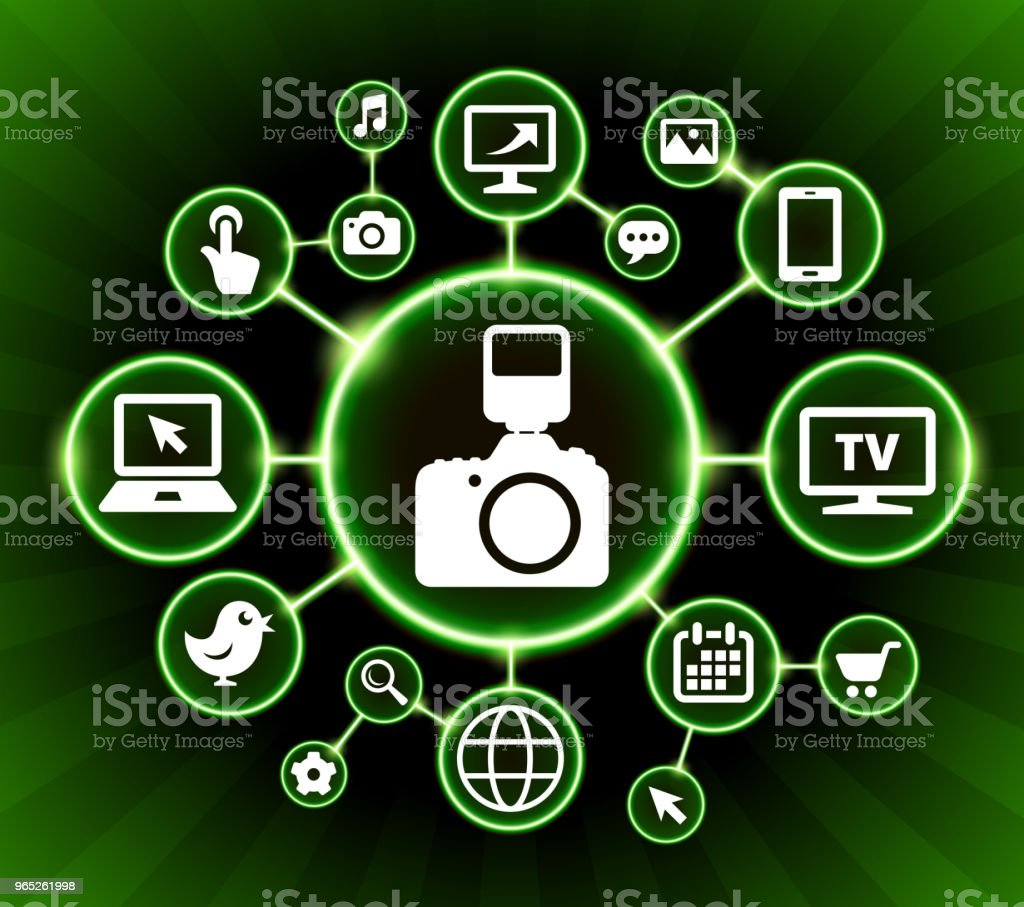 DSLR Camera and Flash Internet Communication Technology Dark Buttons Background dslr camera and flash internet communication technology dark buttons background - stockowe grafiki wektorowe i więcej obrazów aparat fotograficzny royalty-free