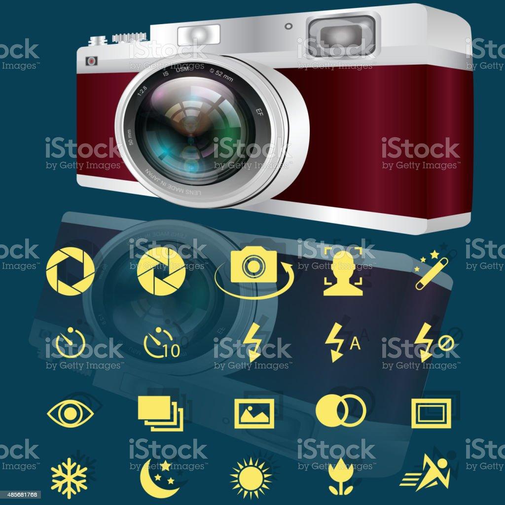 camera and icons obtion vector art illustration