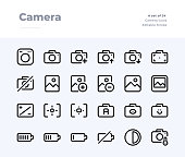 Camera and Photography Line Icons. Material design pixel perfect icon. Editable Stroke. 32x32 Pixel Perfect icon