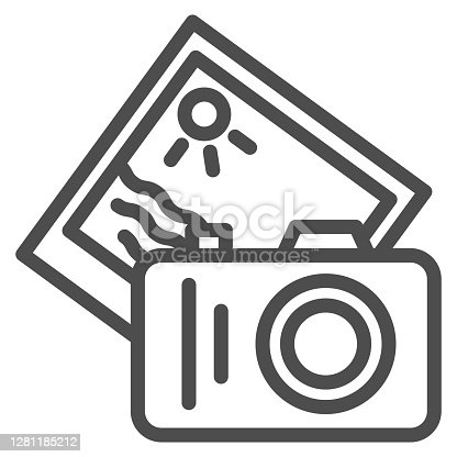 istock Camera and summer photo line icon, Sea cruise concept, Photo shooting sign on white background, camera with memory card icon in outline style for mobile concept, web design. Vector graphics. 1281185212